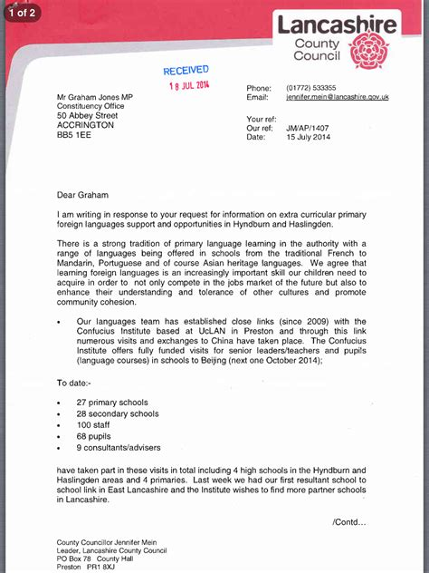 Support Letter For Dla graham jones curricular provision in foreign