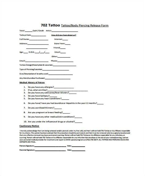 tattoo medical history form sle tattoo release forms 8 free documents in word pdf