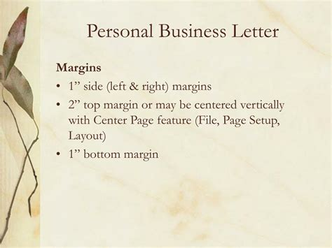 Business Letter Margin Size ppt guidelines for personal business letters powerpoint