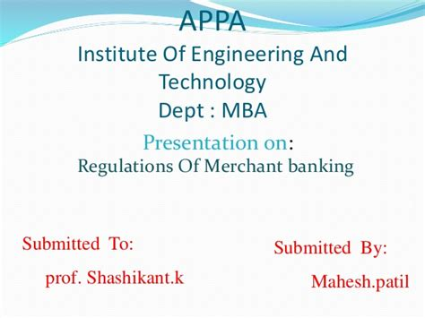 Illinois Institute Of Technology Mba by Regulation Of Merchant Banking