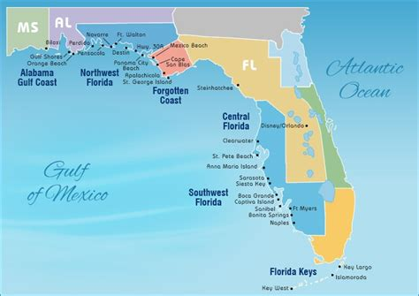 map of florida coast beaches florida gulf beaches map images
