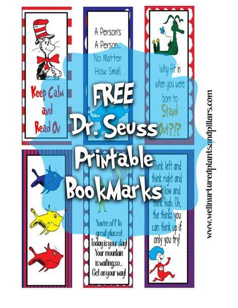 printable bookmarks for kindergarten free printable dr seuss bookmarks free homeschool