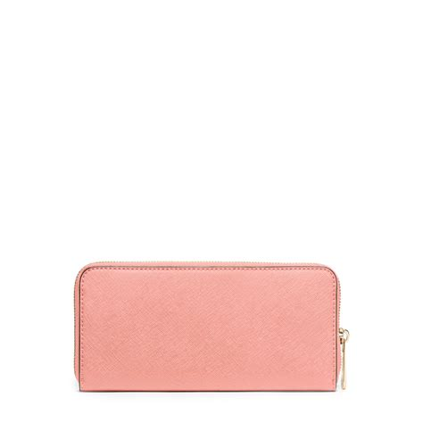 Pink Wallet lyst michael kors jet set travel saffiano leather continental wallet in pink