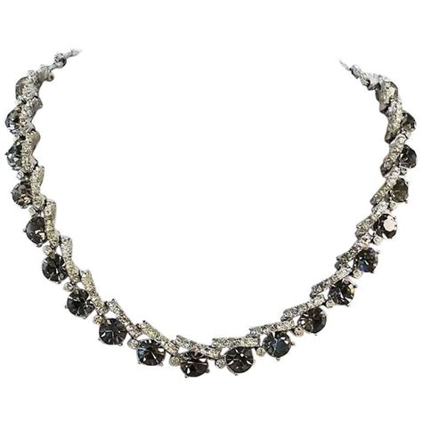Smoky Gunmetal Adds Edge To A Chain Bracelet By Giles And Any From To Carpet Fashiontribes Fashion by 1950s Smoky Grey Rhinestone Necklace For Sale At 1stdibs
