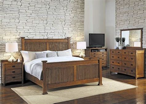 mission hill medium harvest slat panel bedroom set