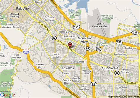 where is mountain view california on the map map of 8 motel mountain view mountain view