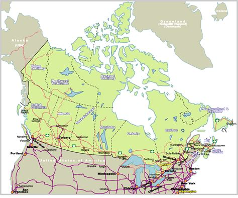 map of us and canada highways map of canada johomaps
