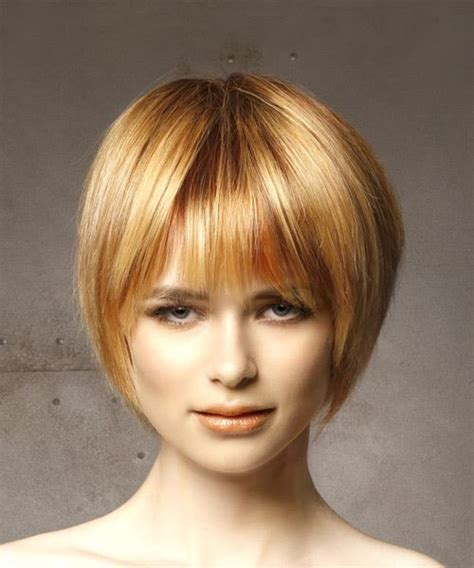 hairstyles with light bangs short straight casual bob hairstyle with layered bangs