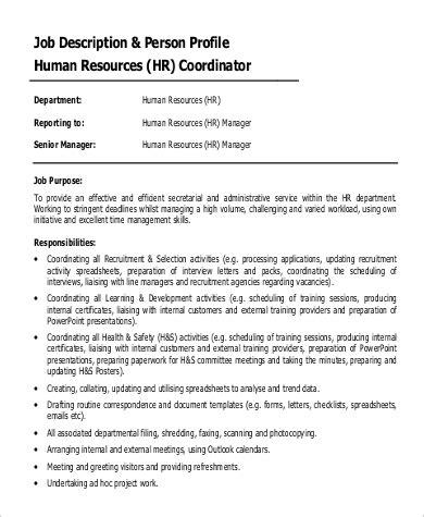 9 Hr Coordinator Job Description Sles Sle Templates Hr Council Description Template