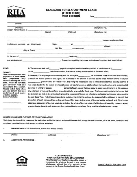 Apartment Lease In Standard Form Apartment Lease 1