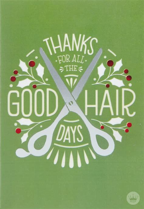 hair stylist   hallmark christmas card bold block letters   pair  scissors send