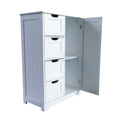 Foxhunter White Wooden 4 Drawer Bathroom Storage Cupboard Bathroom Storage Cabinets With Drawers