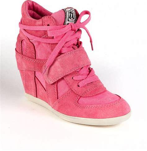 pink wedge sneakers ash bowie suede wedge sneakers in pink lyst