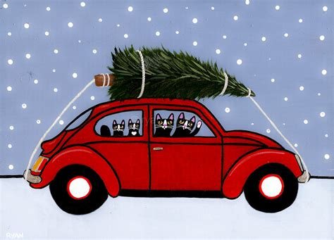 volkswagen christmas red vw bug christmas cats original folk art painting