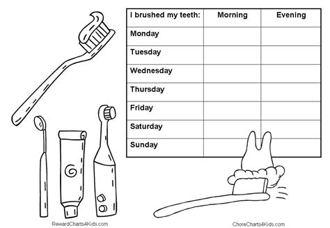 dental chart template teeth brushing chart for the tooth club