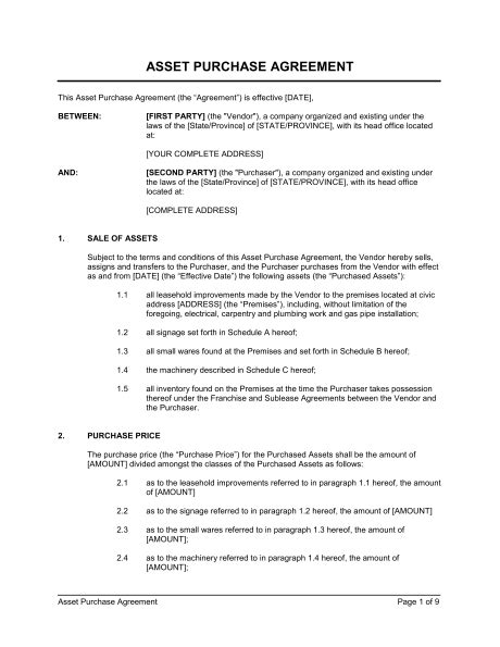 asset purchase agreement retail store template word   business   box