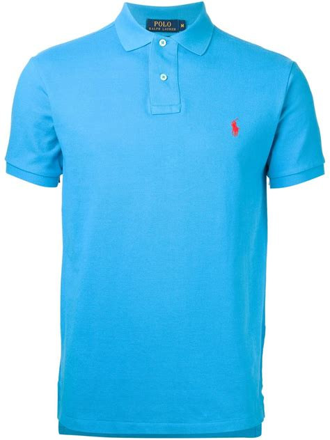 polo shirt polo ralph slim fit cotton polo shirt in blue for