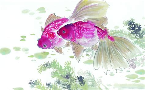 free painting ink painting of the mid fish desktop wallpaper 16