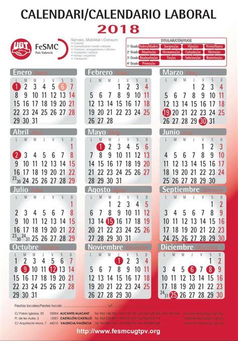 Calendario 2018 Valencia Comit 201 De Empresa Lidl Ugt Provincia De Alicante