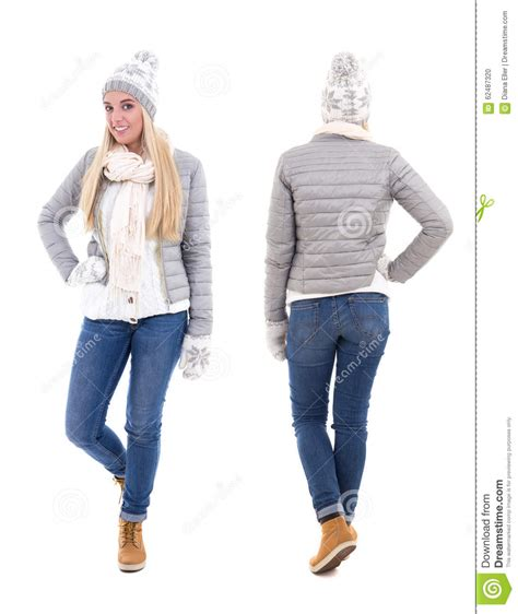 whats clothes are in for a woman in her 50s front and back view of cute beautiful woman in winter