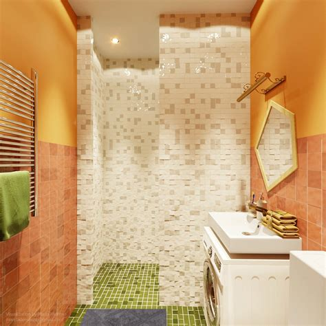 green and orange bathroom four small studios that explore fun and whimsical styles