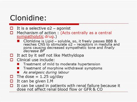 Giving Clonidine To Detox Patients With Low Blood Pressure by Adrenergic Antiadrenergic Drugs Ppt