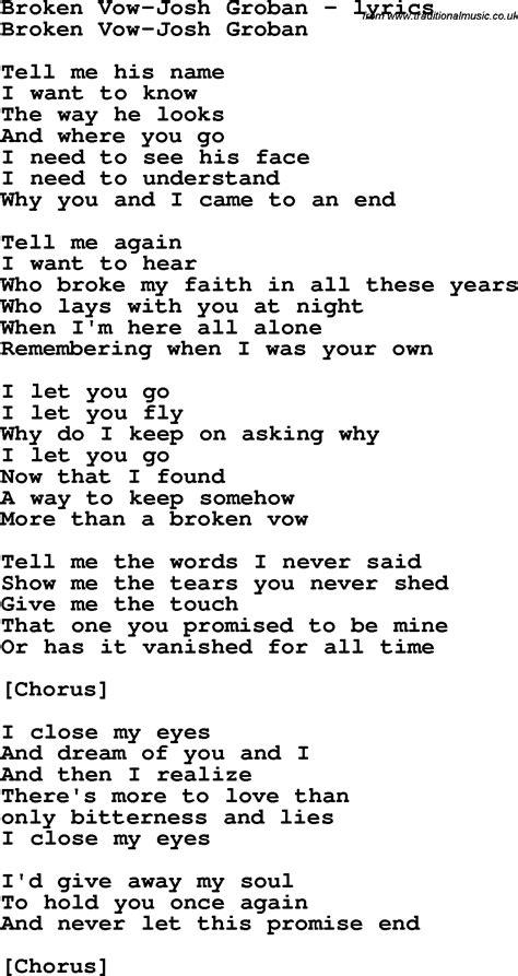 song lyrics for broken vow josh groban