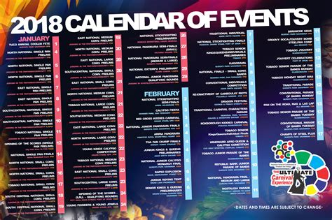 Calendar Events 2018 Pan Trinbago
