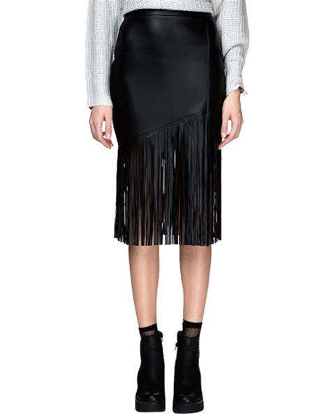 black pu tassels pencil skirt choies