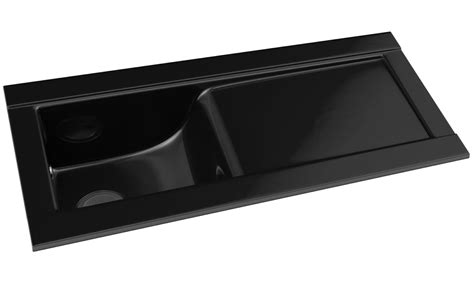 Black Ceramic Kitchen Sinks Abode Tydal Black Glaze 1 0 Bowl Ceramic Kitchen Sink With Drainer Aw1003