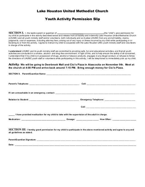 activity consent form template permission slip 1