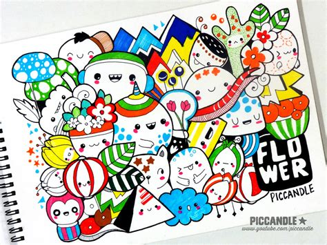 the doodle book draw colour create colored doodle flower by piccandle on deviantart