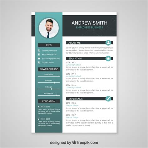 resume format freepik professional curriculum vitae template vector free