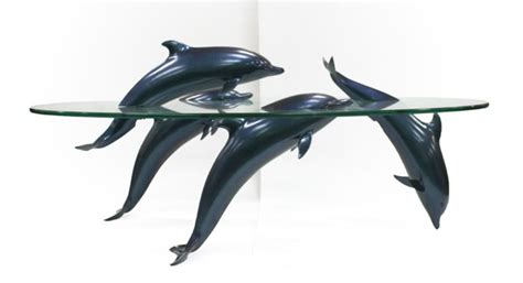 Dolphin Table by Dolphin Table Glass Top Coffee Table For Sale