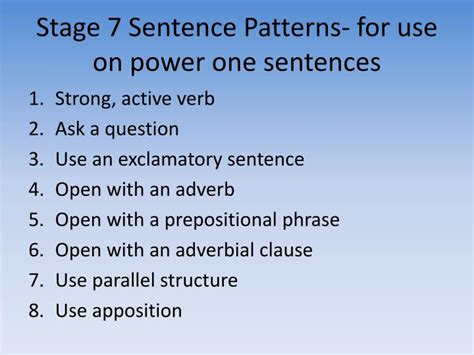 sentence pattern usage ppt power writing powerpoint presentation id 3917230