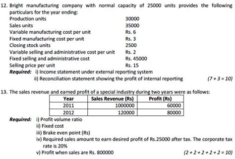 Management Accounting Questions And Answers For Mba by Cost And Management Accounting Bbs Tu Model Question