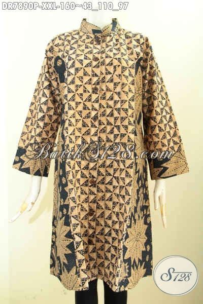Dress Jumbo dress batik jumbo pakaian batik elegan krah shanghai