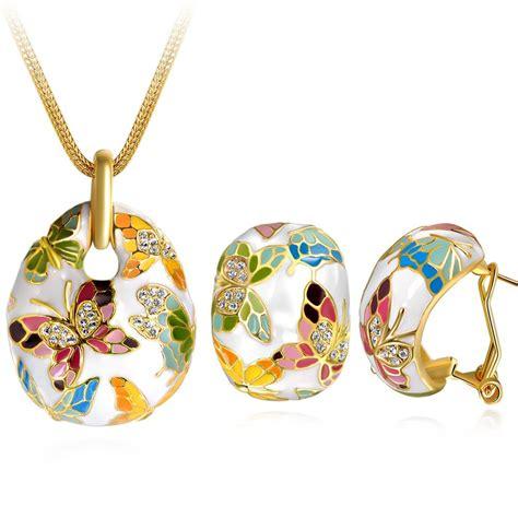 Enamel Butterfly Necklace By Miss Selfridge by Butterfly Enamel Necklace Earrings Retro Set Of