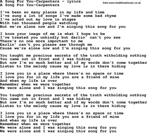 a song for you song lyrics for a song for you carpenters