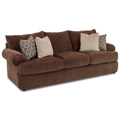 klaussner samantha casual upholstered stationary sofa