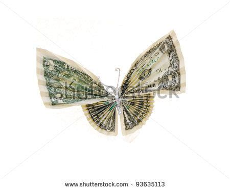 Butterfly Dollar Origami - an isolated money butterfly stock photo origami