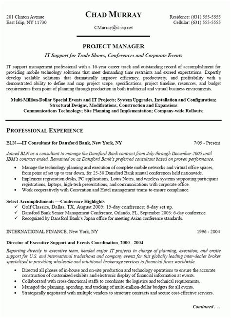 entry level project management resume sle best