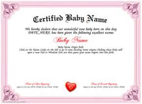 naming certificate template certified baby name