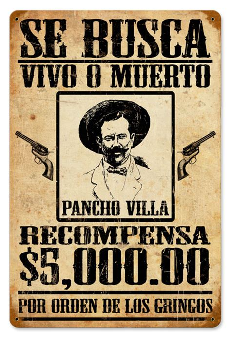 Vintage Kitchen Collectibles by Se Busca Wanted Pancho Villa Vintage Metal Sign