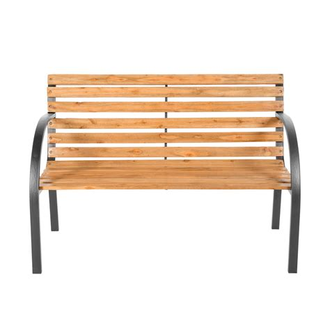 wood bench with metal legs wooden garden bench eucalyptus wood seat with metal legs