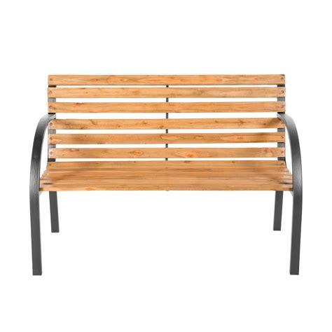 wood bench with metal legs wooden garden bench eucalyptus wood seat with metal legs