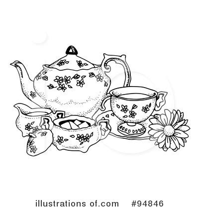 tea party black and white clipart clipart suggest