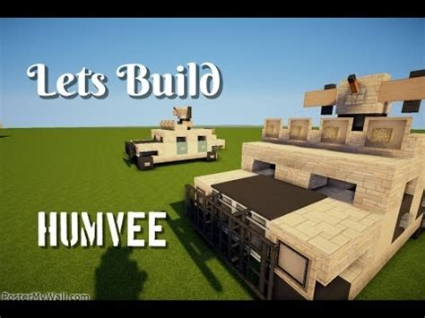 minecraft army jeep minecraft lets build humvee quot tutorial quot with gun youtube