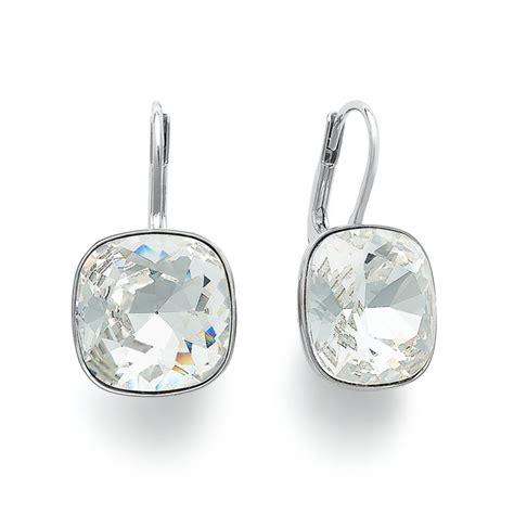 swarovski drop swarovski silver tone drop earrings in silver lyst