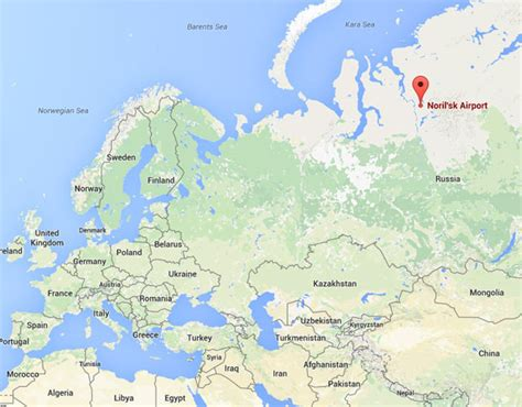 norilsk russia maps arctic wind blows boeing 737 in circle